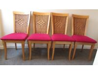 4 dining chairs vintage queen Anne style legs bergery back carved FREE DELIVERY WITHIN LE3