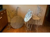 Tall metal bistro table and chairs