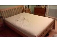 Solid Oak Double Bed Frame + Mattress