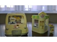 Sylvanian families Ice cream van and crepe stand.
