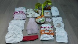 Newborn Baby Girl Clothes. V-Tech Cot Mobile & misc bits (32 items)