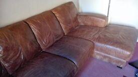 Dfs L-shaped sofa tan leather