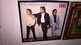 Huey Lewis and the News..Fore..in black frame..genuine vinyl record inside..