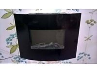 curved black glass wall mounted fire 1400.1600 watts