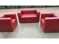 RED SOFA 2 SEATER + 2 SINGLE SEATERS SITS 4 (LDN)