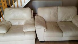 2 seater cream leather sofa and chair