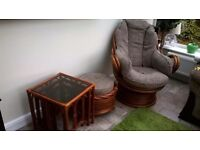 2 rocking chairs 3 glass tables and footstool