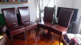 Set of 4 Dining Room Chairs, Brown, Real Leather, High Back Rest, Wooden Legs.