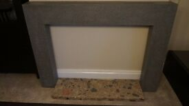Laminated MDF GREY fireplace surround and marble base used in good condition