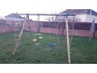 Garden wooden swing