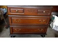 Rossmore 3 drawer real wood writing bureau, very heavy. Needs tidied.