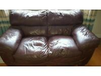 Brown Leather Suite. Collection Only