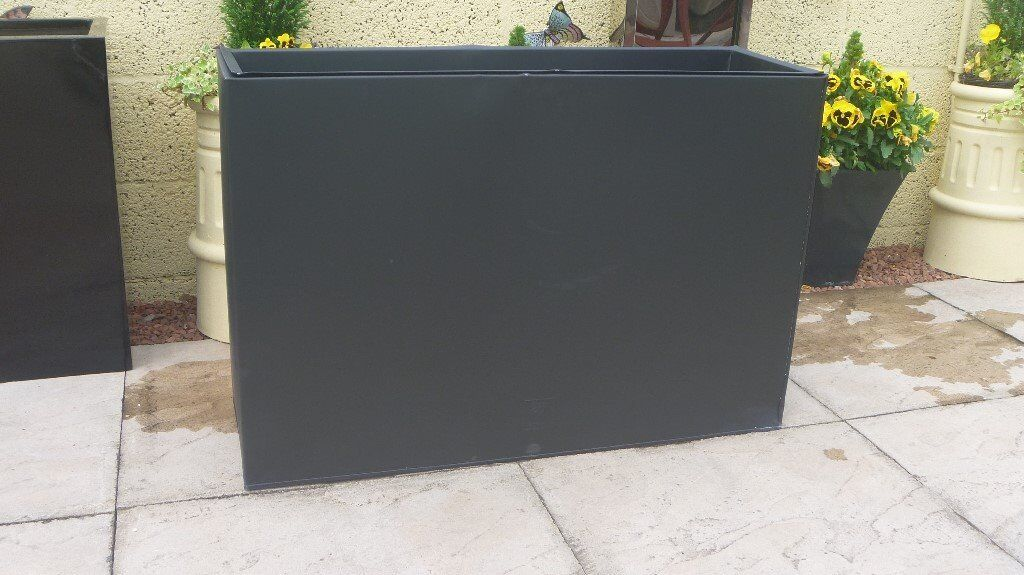 L89cm Black Zinc Tall Trough Planter With Insert By Primrose Code
