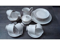 China Tea Set, white with gold trim