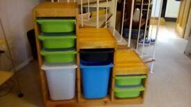 Ikea wood childrens storage unit with trays