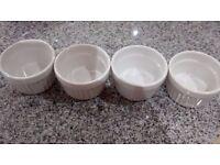 4 White Ramekins