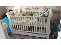 Sleigh white cot bed