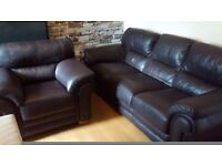 Can deliver beautiful Italian leather 3 seater sofa and matching chair very good condition
