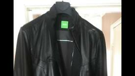 Boss green leather jacket