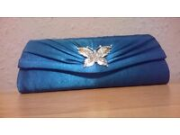 Teal Satin Clutch Bag by Acess London