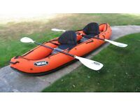 YAK inflatable 2 person canoe transparent floor paddles pump carrying bag - excellent