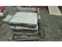 "CONCRETE FLAGS 2FT X 2FT 2"" THICK FOR DRIVEWAYS, PAVING, PATIOS OVER 30 PIECES GOOD SOLID CONDITION"