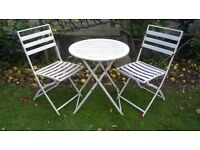 Metal bistro garden set - 2 chairs and table - White - £15 Helston