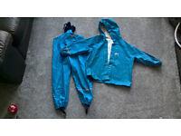 Boys Rukka light blue matching waterproof Anorak and Dungaree set (110cms)