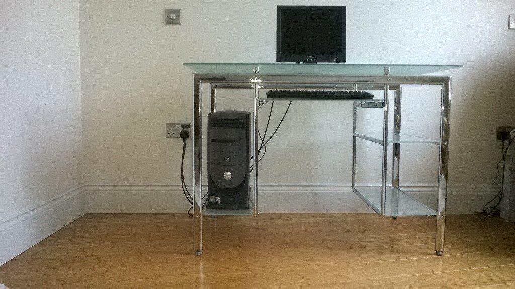 Glass and Chrome Computer Workstation
