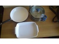 Steamer, ceramic roasting dish and frying pan