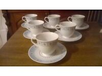 Superb Six Piece WHITTARD OF CHELSEA Set of ENGLISH ROSE Cups and Saucers