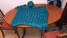 Teal chunky knit blanket