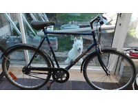 """Mens 26"""" wheeled town bike with 7 speed internal geared hub, side stand, and coaster brake."""