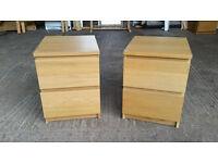 Ikea Malm Oak Bedside Cabinets