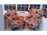 2 design pattern solid wood reupholstered chairs