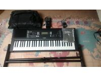 Yamaha Black Electronic Portable Keyboard 61 key PSR-E 363 with stand, sustain pedal and bag