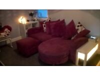 3 seat sofa with chaise and ottoman footstool in blush pink excellent condition W87in H29in D37in