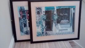 PAIR OF FRENCH CAFE SCENE PICTURE DARK WOOD FRAME UNDER GLASS