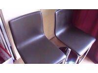2 x brown modern bar stools