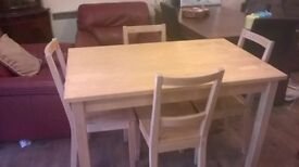 LIGHT WOOD MODERN TABLE AND CHAIRS