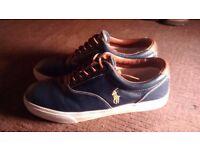 Ralph Lauren navy & tan shoes size 10. Worn once, too big.