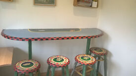 Hand Painted 'Farm Style' Breakfast Bar And 4 No Stools.
