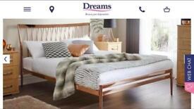 Copper bed frame.
