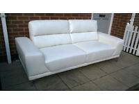 A Brand New Manhattan 3 Seater Ivory Leather Sofa.