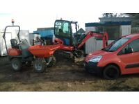 MINI DIGGER / DUMPER HIRE ( WITH OPERATOR ) YOU CANT BUY EXPIRIENCE !!!! BUT YOU CAN HIRE IT HERE.