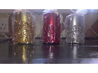 3 Glitter Pillar Candles Brand New and Sealed
