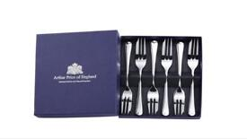 Arthur Price Classic Old English Set of 6 Pastry Forks -New