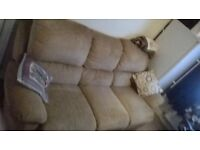 3 seater reclining sofa with footstool
