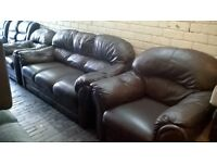 brown all leather 3pc. suite.