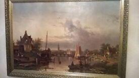 J.F.Spohler Canel Scene Oil Painting In Gold Frame